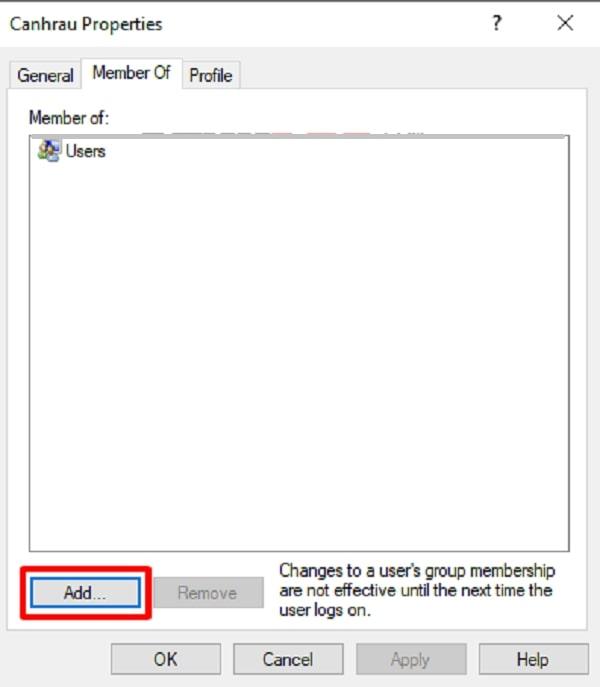 Bạn click sang Member Of rồi click chọn Add