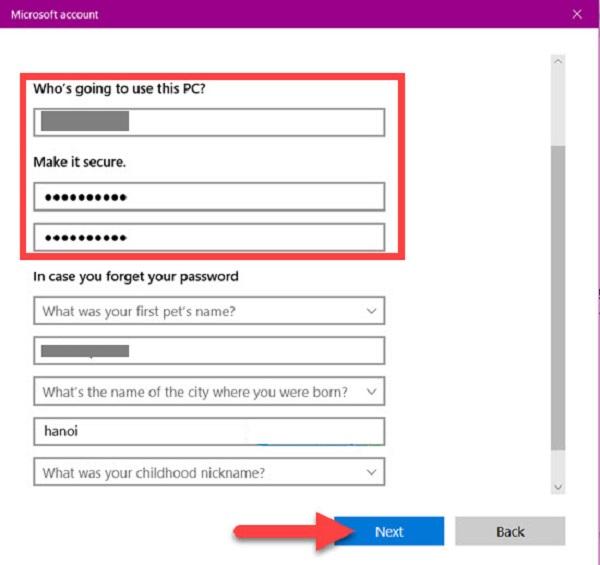 Bạn nhập mật khẩu đặt tên rồi click chọn Next