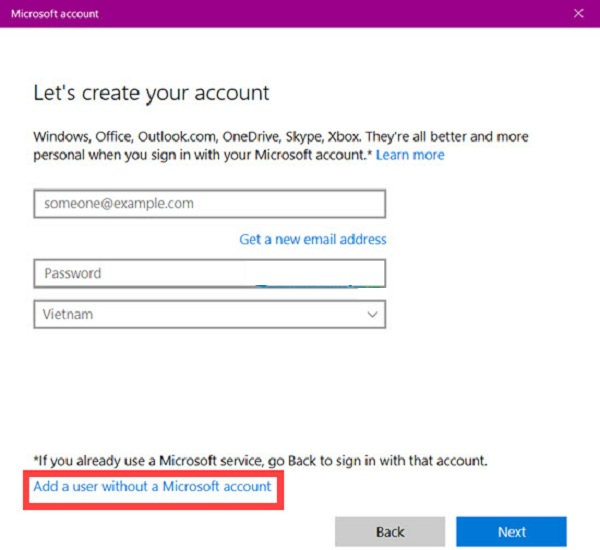 Bạn tiếp tục chọn Add a user without a Microsoft account