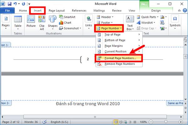 Cách chèn số trang trong Word 2010 từ trang bất kỳ