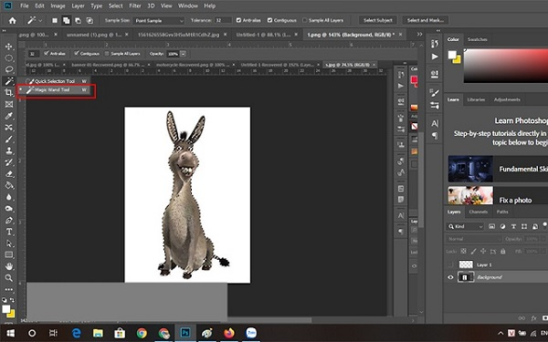 Cách tách nền trắng trong photoshop cs6 bằng Magic Wand