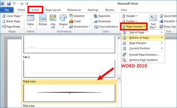 Chọn Page Number để bắt đầu cách chèn số trang trong Word 2010