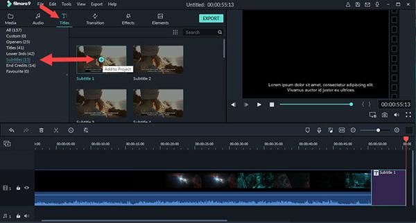 Chọn Titles sau đó chọn Subtitles để lựa chọn kiểu hiển thị chữ trên video