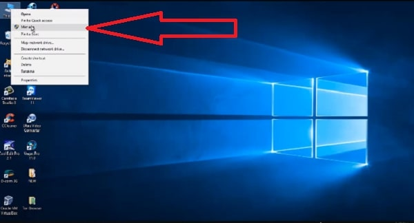 Click chuột phải vào PC rồi chọn Manage