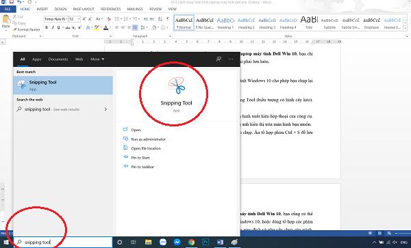 Công cụ Snipping Tool để chụp màn hình trên Windows 10