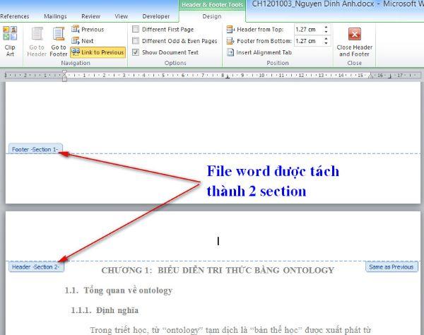 Để thêm số trang từ một trang bất kỳ thì phải ngắt liên kết 2 section