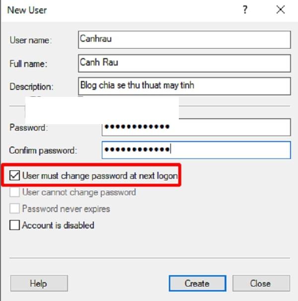 Nhập các thông tin thiết yếu về tài khoản User rồi click chọn Create để hoàn thành