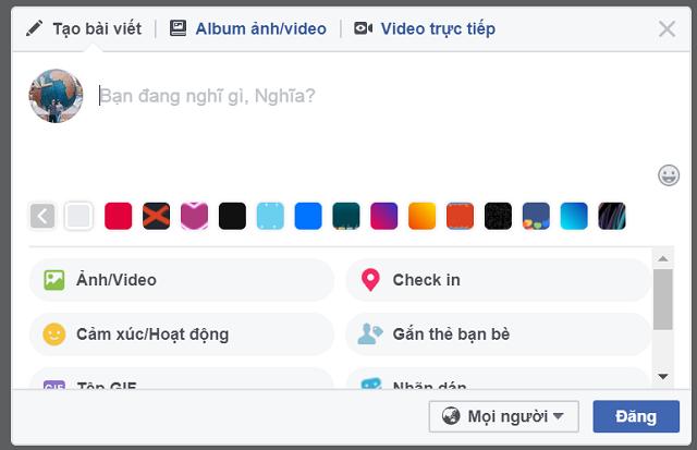 Nhập nội dung status facebook