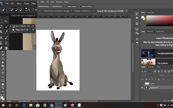 Tách nền trắng trong photoshop cs6 bằng Quick Selection Tool