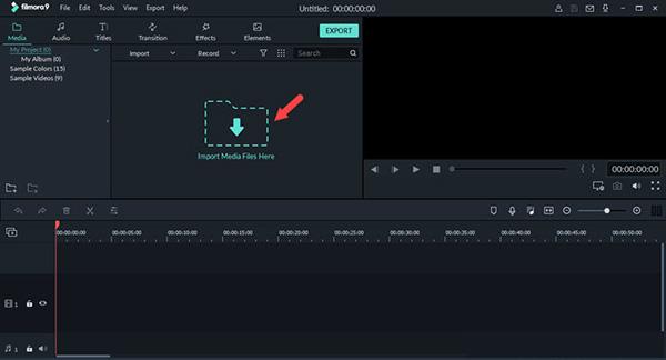 Tải video cần chèn chữ lên phần mềm Filmora 9
