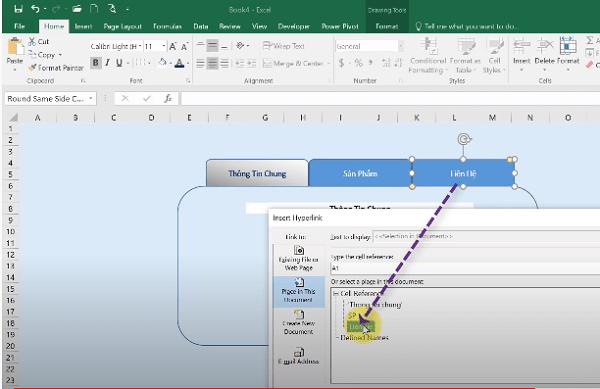 Tạo link liên kết cho sheet thứ 3