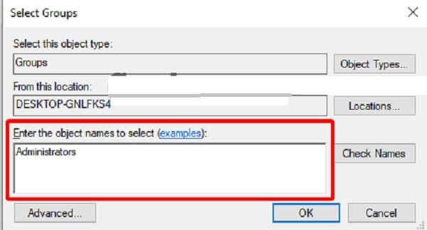 Thay đổi quyền người dùng bằng cách nhập vào Enter the object names to select