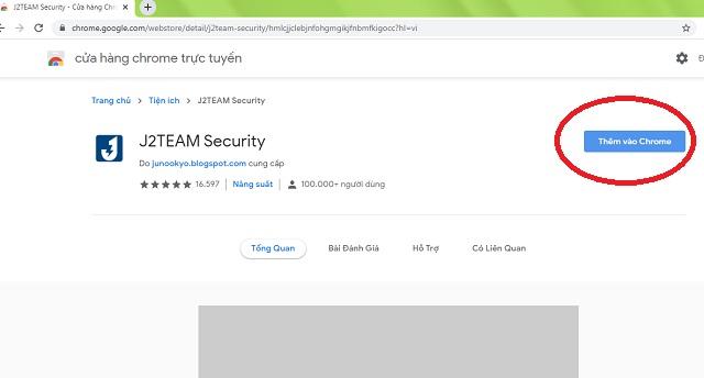 Thêm tiện ích J2team vào google chrome