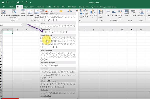 Vào Insert rồi chọn Shapes và chọn biểu tượng để tạo khu vực đi link
