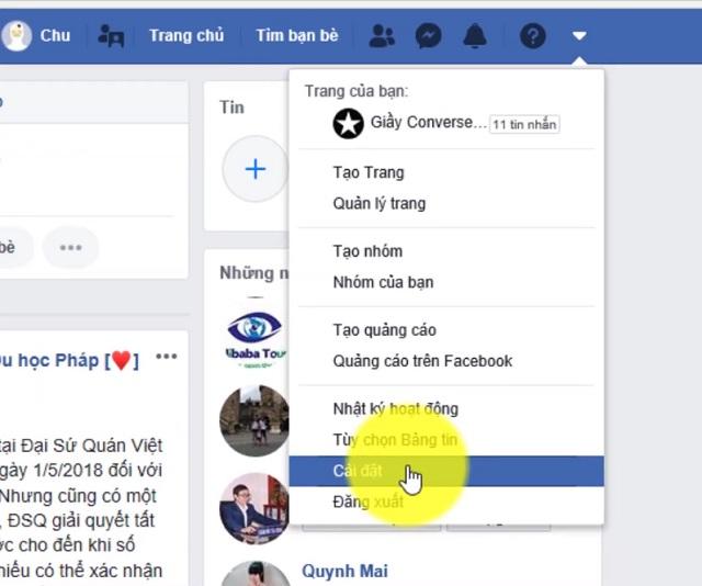 Vào phần cài đặt trong tài khoản facebook cá nhân của bạn.