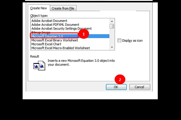 Chọn Microsoft Equation 3.0